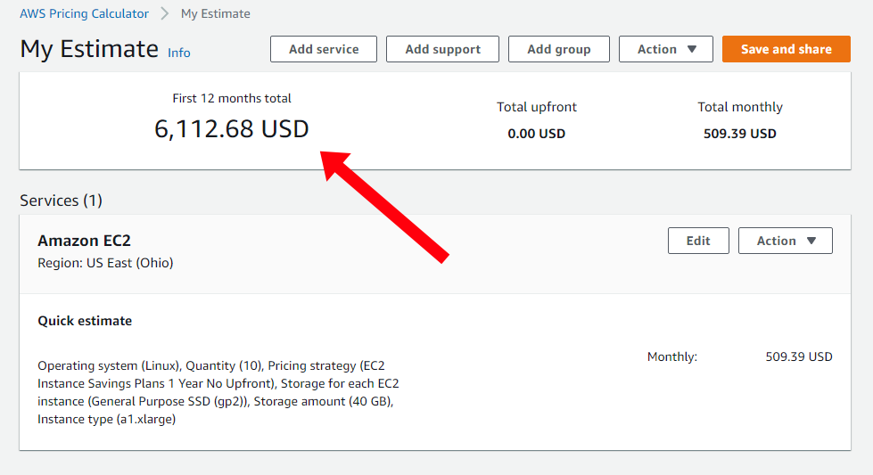Screenshot showing AWS EC2 instances would cost $6,112.68 per year