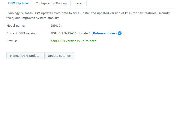 Screenshot of Synology upgrade screen