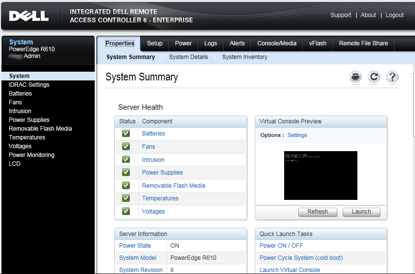Screenshot of Dell iDRAC interface