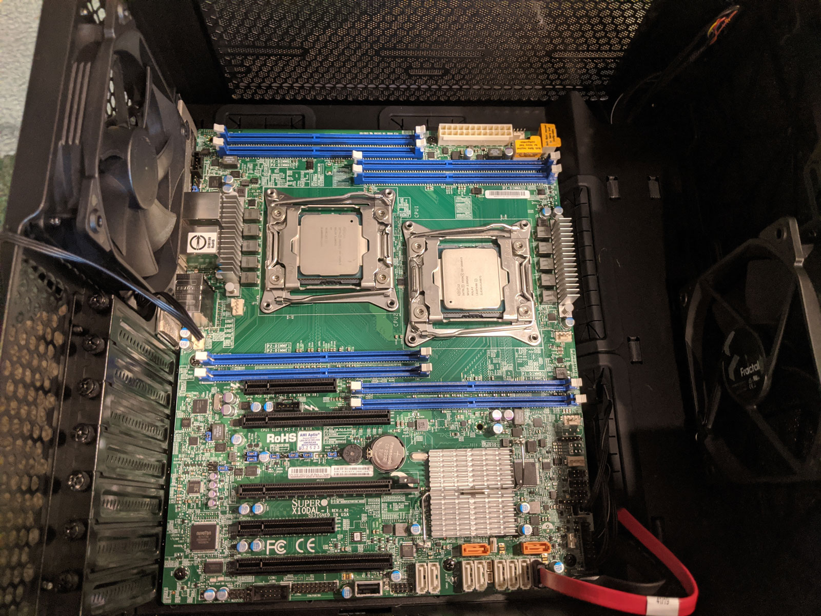 Photo of motherboard with CPUs installed