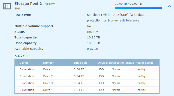 Screenshot showing 10.9 TB