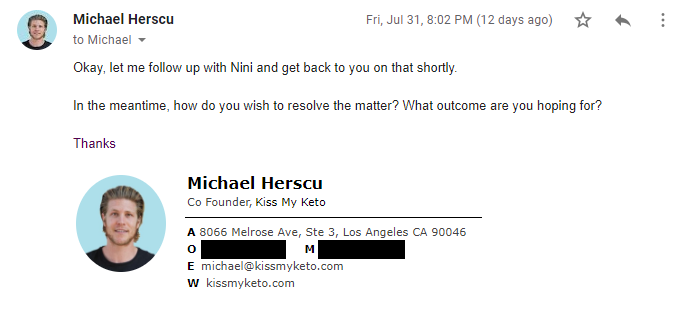 Screenshot of Herscu asking 'how do you wish to resolve the matter? What outcome are you hoping for?'