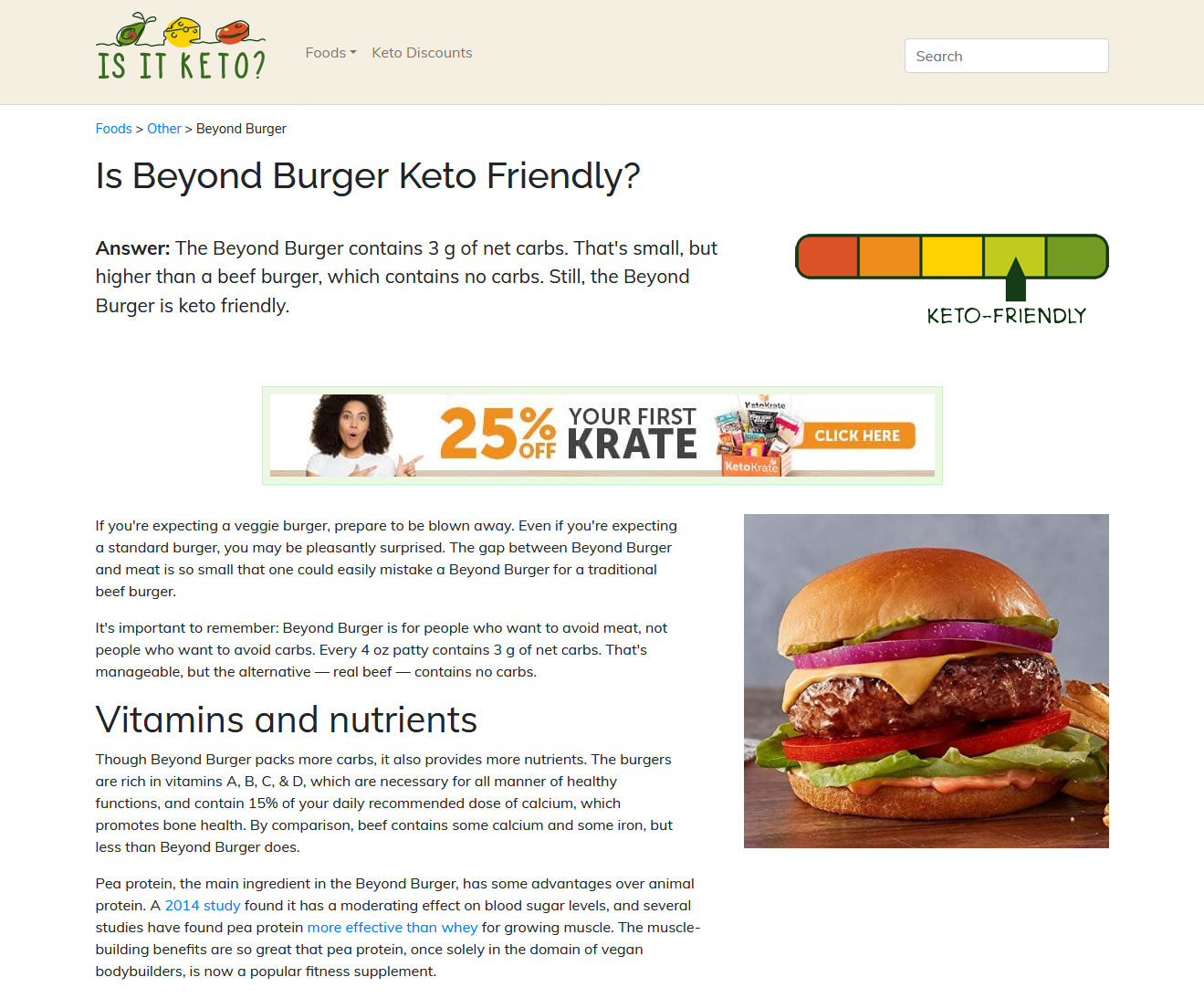 Screenshot of Beyond Burger page on Is It Keto