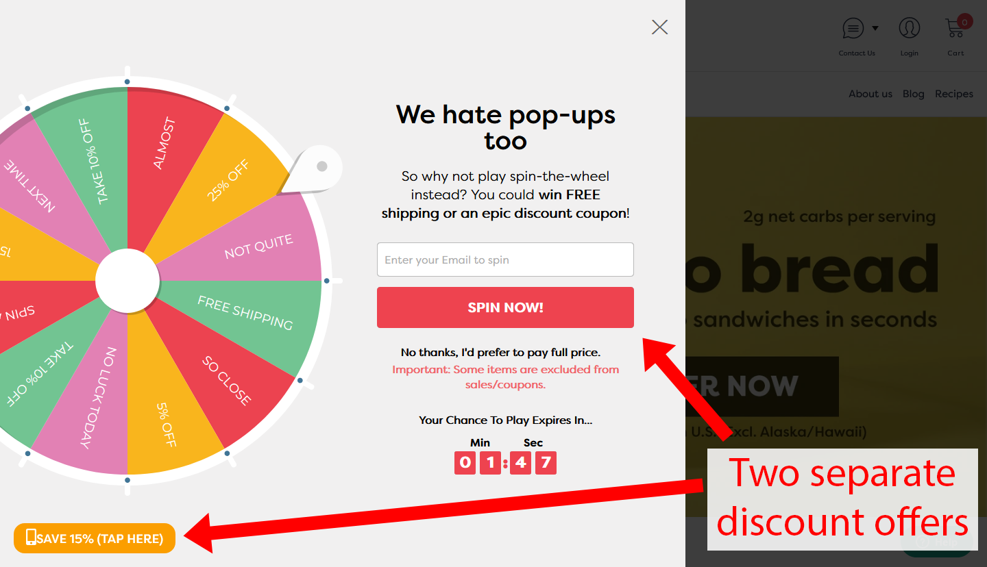 Screenshot of two separate discount offers on Kiss My Keto's homepage