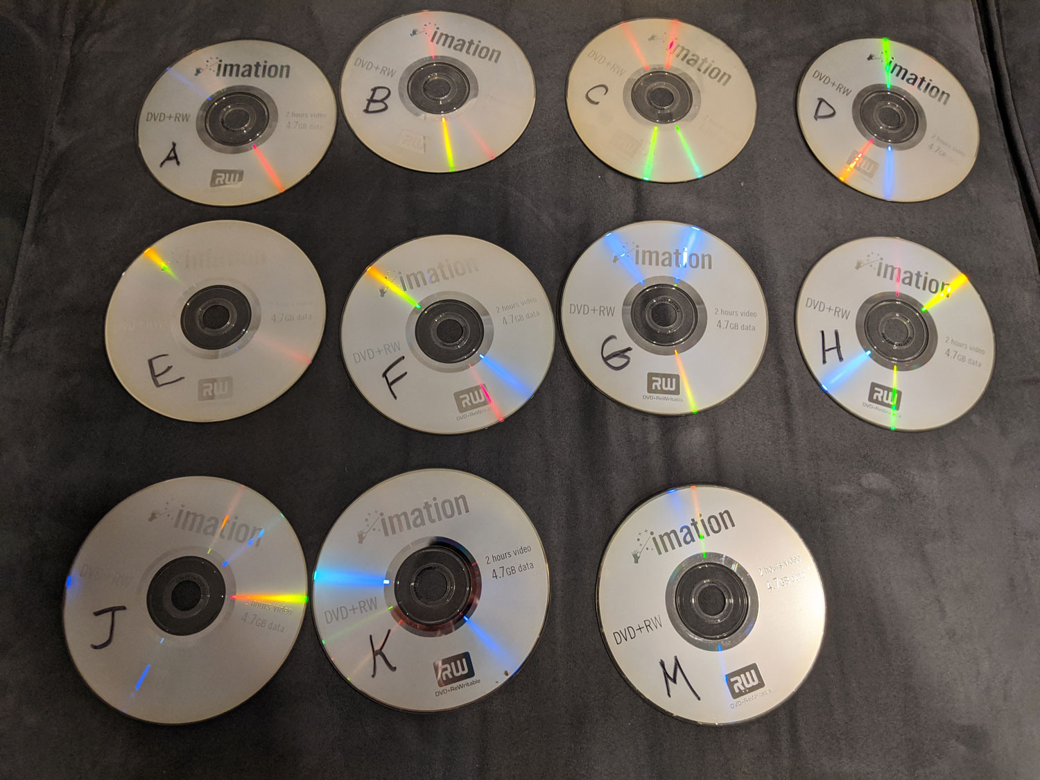 Photo of rewritable DVDs labeled by letter