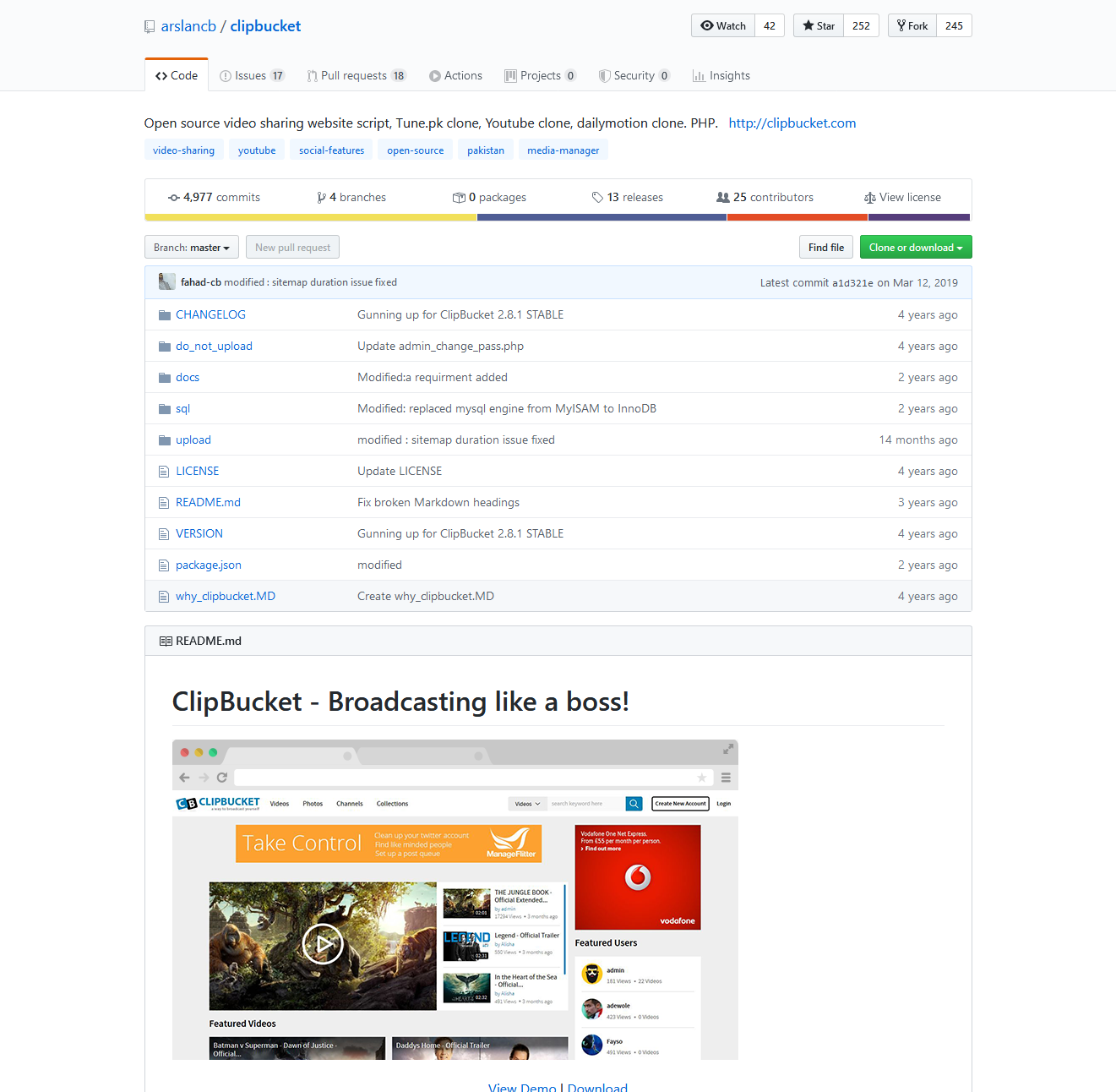 ClipBucket's repository on Github