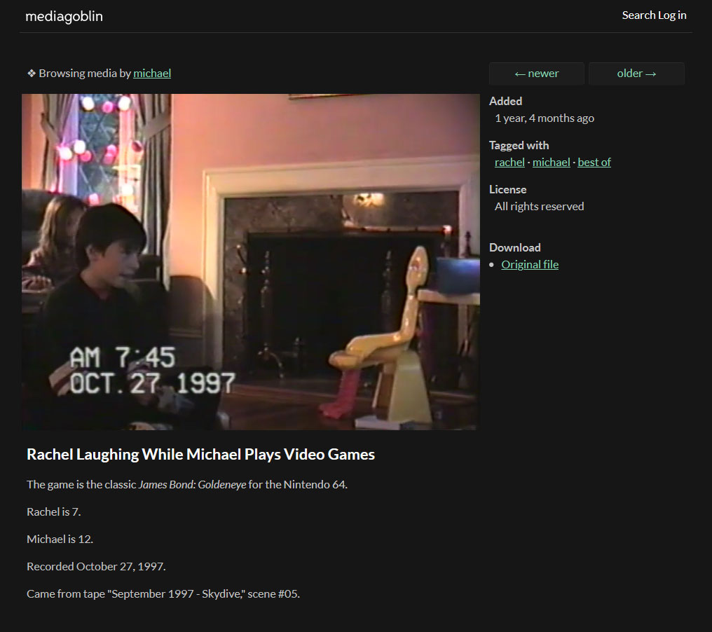Screenshot of MediaGoblin displaying a video