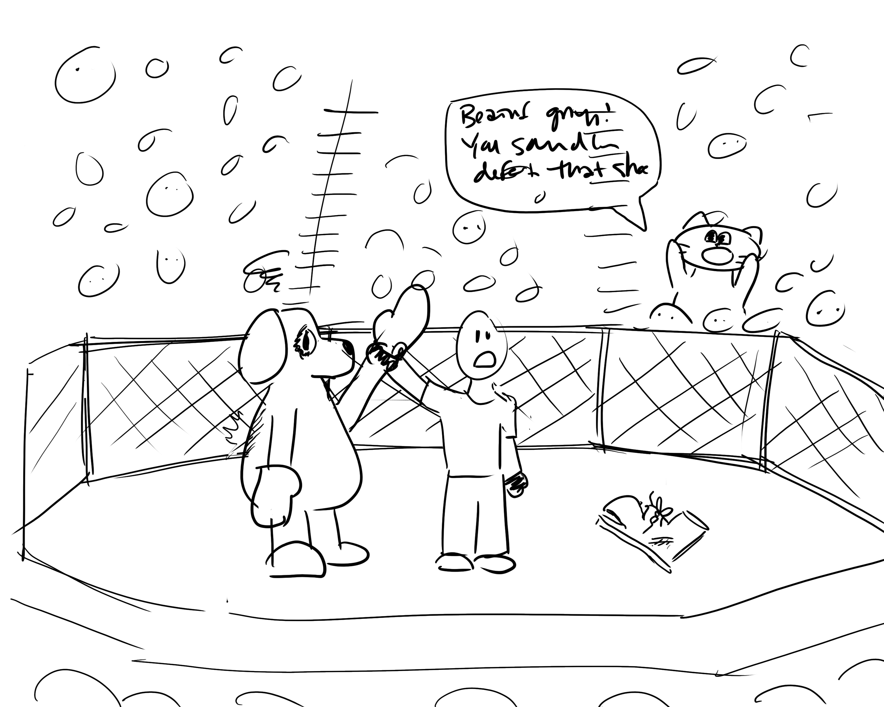 Sketch of MMA cartoon