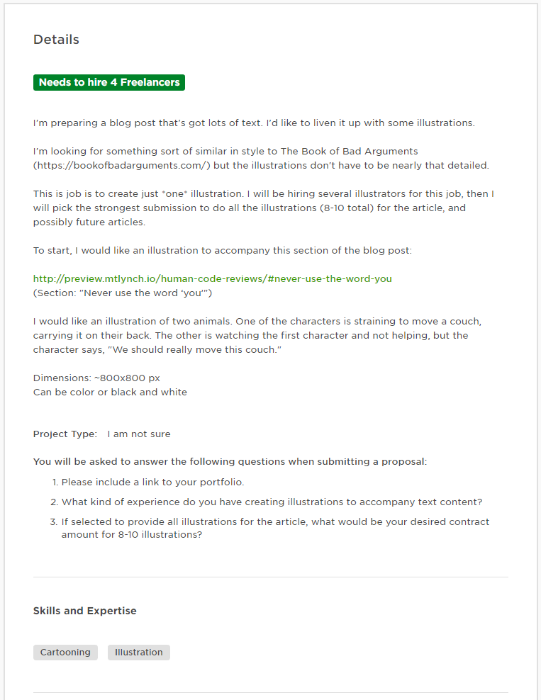 Screenshot of job posting on Upwork