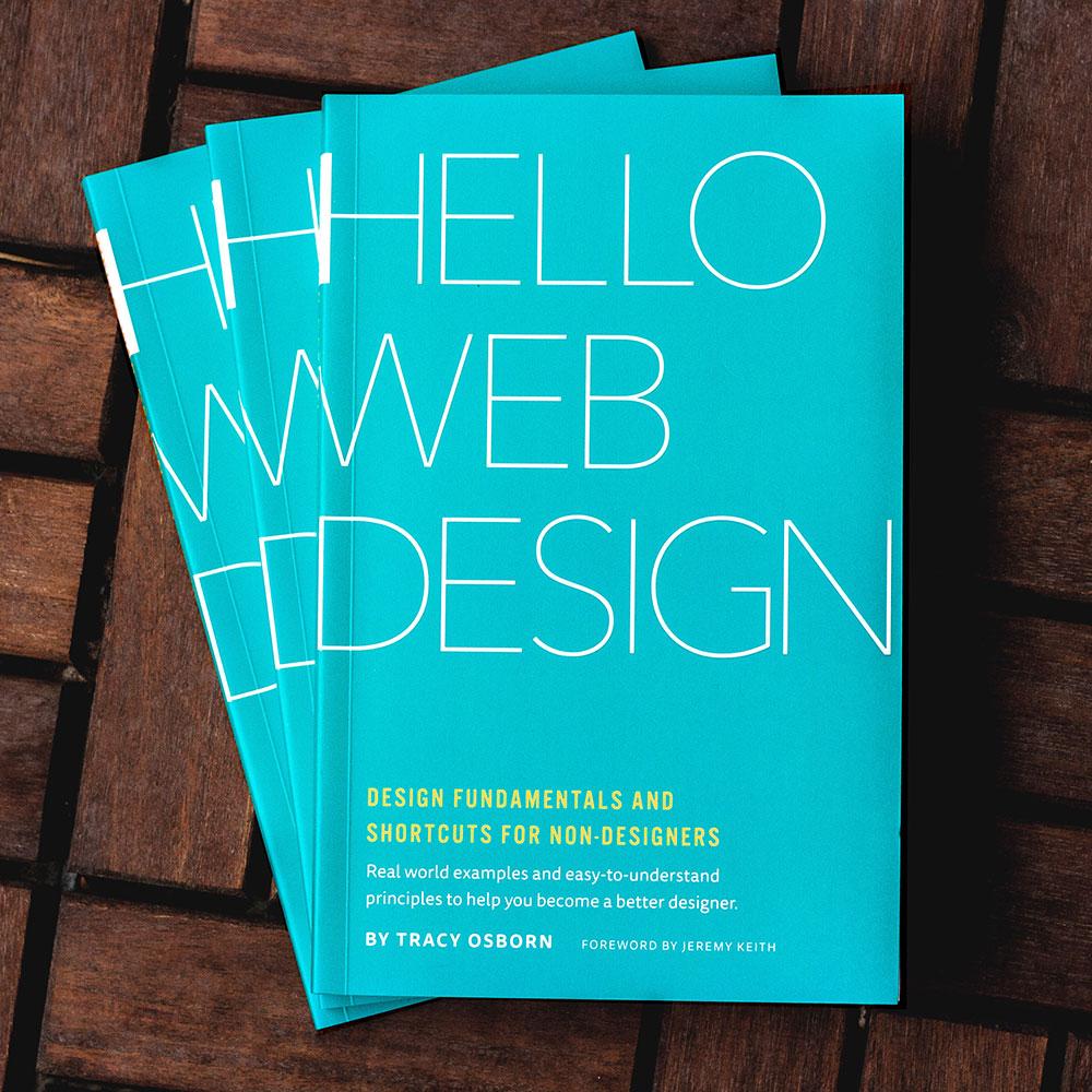 Stack of Hello Web Design books