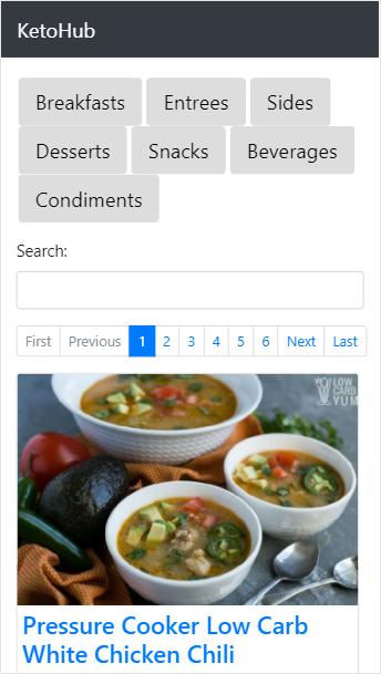 KetoHub before redesign (mobile)