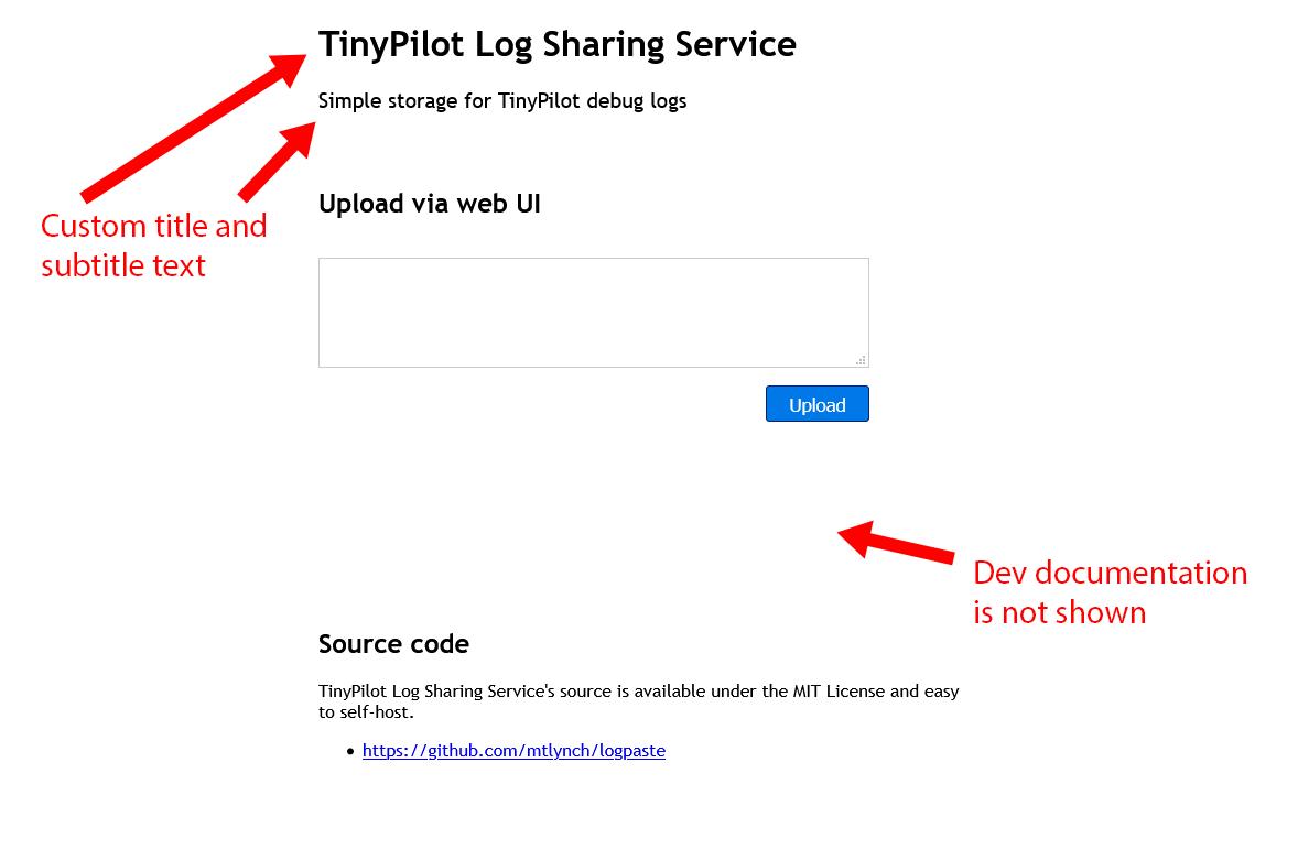 Screenshot of TinyPilot's LogPaste instance