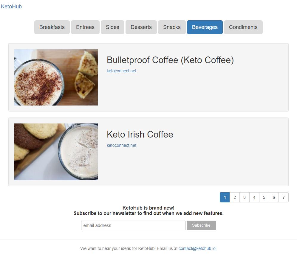 Basic KetoHub site with dummy data