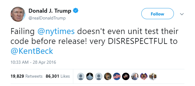 Trump tweet about code