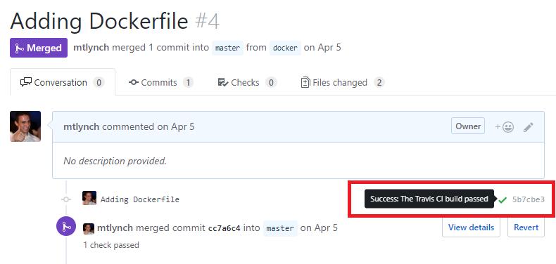 Screenshot of first successful build on Travis CI