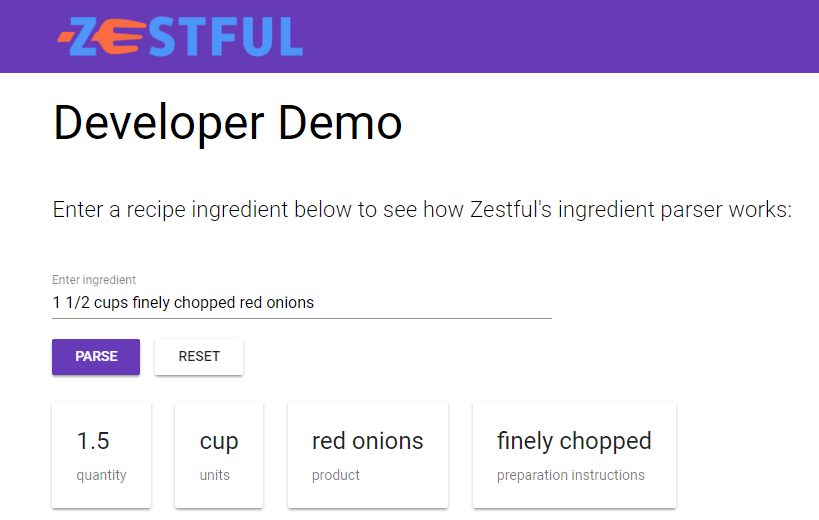 Screenshot of Zestful ingredient parsing demo