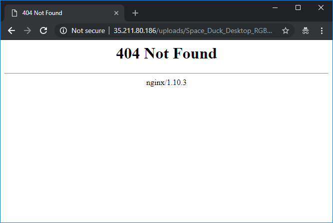 Screenshot of 404 for previously uploaded file