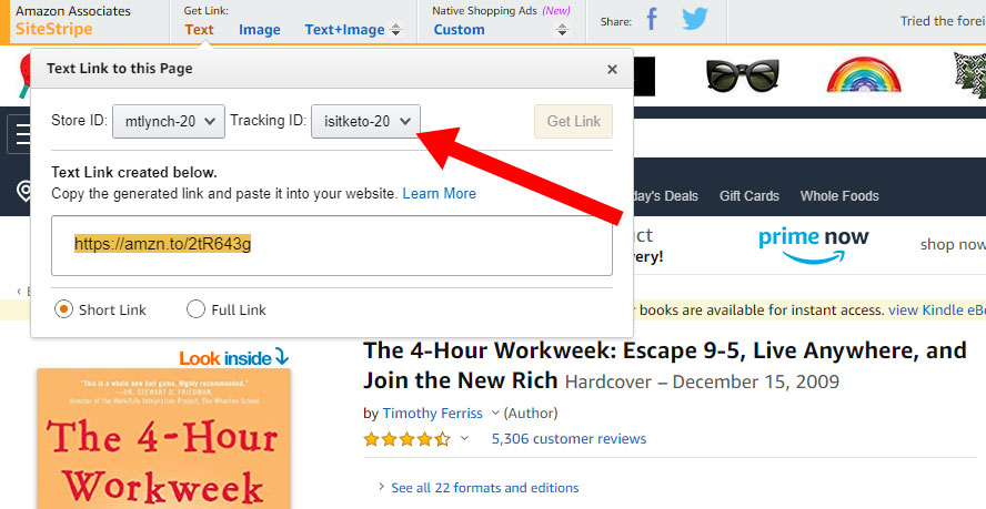 Generating an Amazon Affiliate link