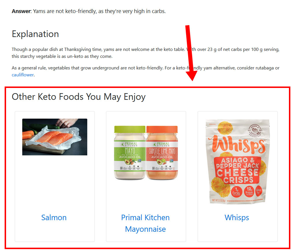 Screenshot of Other Foods widget on Is It Keto