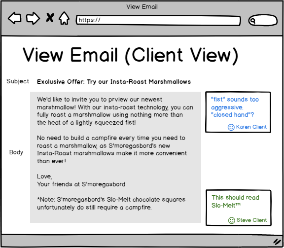 Wireframe of feedback view
