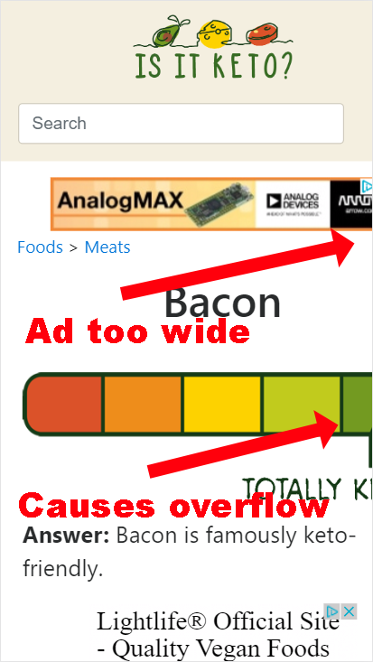 Screenshot of bad ad on Is It Keto