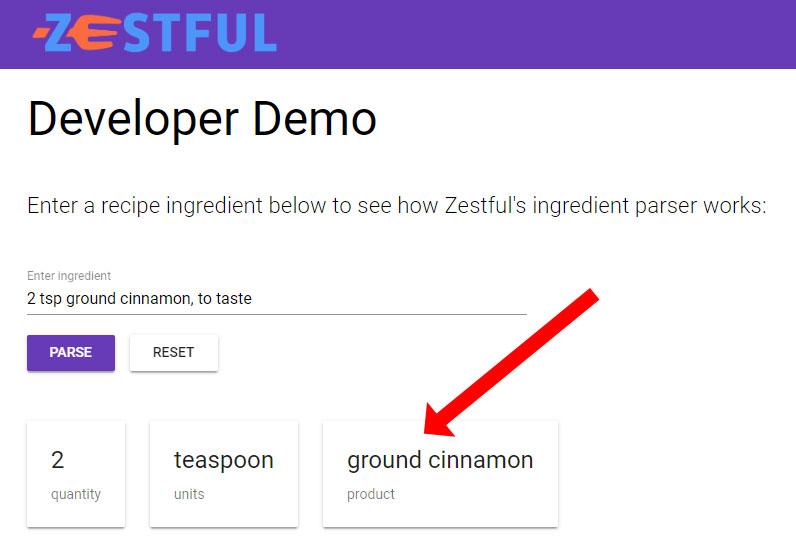 Screenshot of parsing ground cinnamon on Zestful