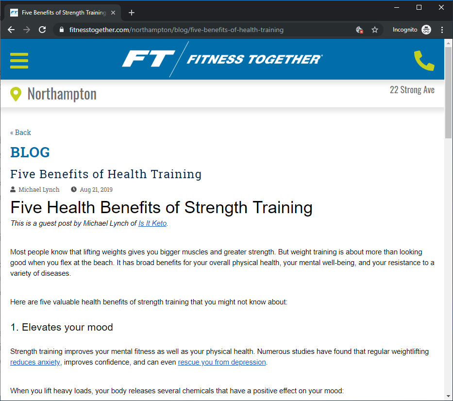Screenshot of my blog post on Fitness Together's blog