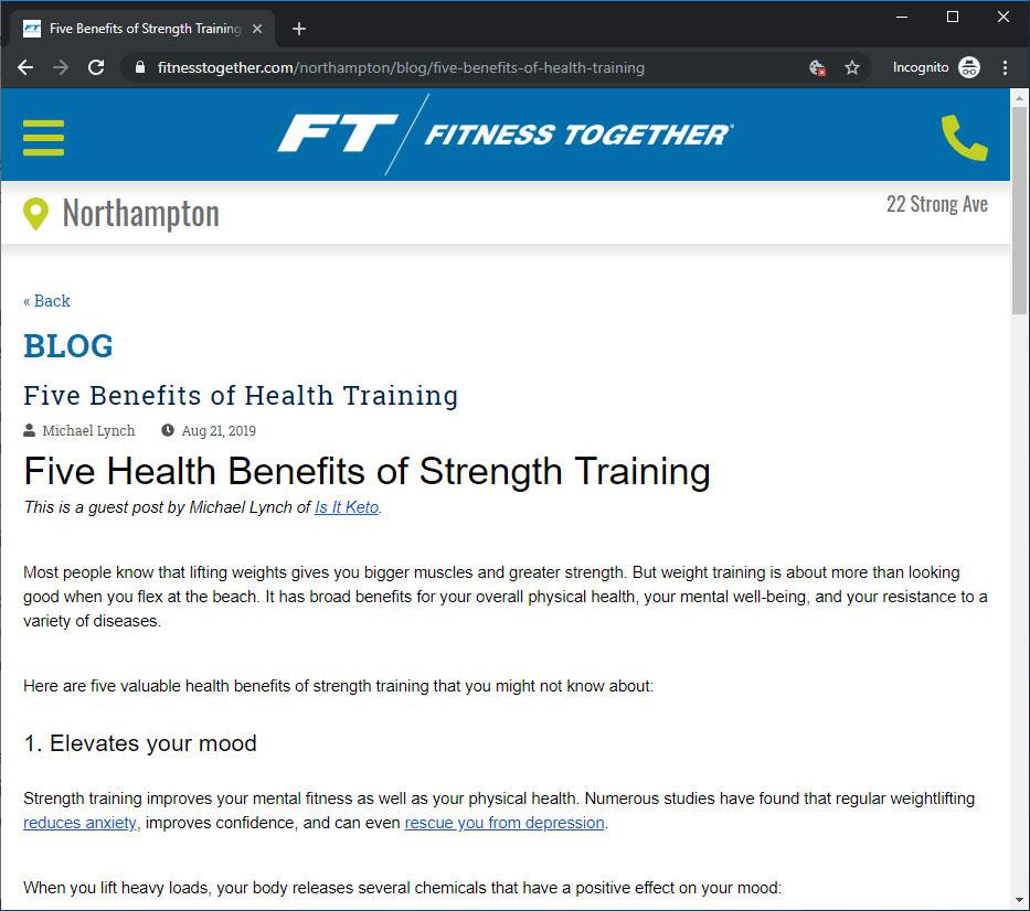 Screenshot of my blog post on Fitness Together's blog