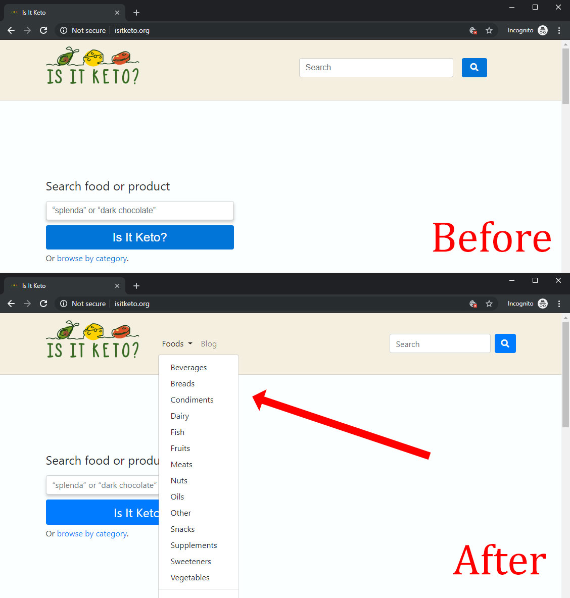 Before and after screenshots of Is It Keto navbar