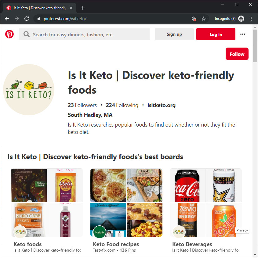 Screenshot of Is It Keto's Pinterest page