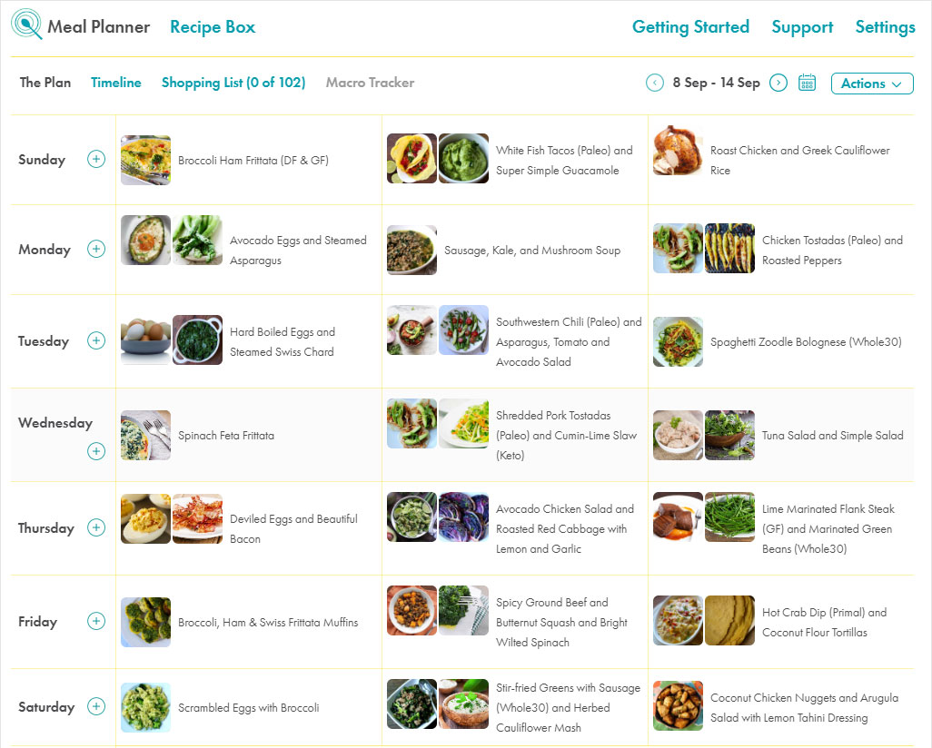 Meal planner screenshot