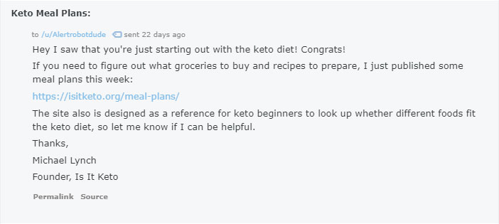 reddit post asking for meal plan advice