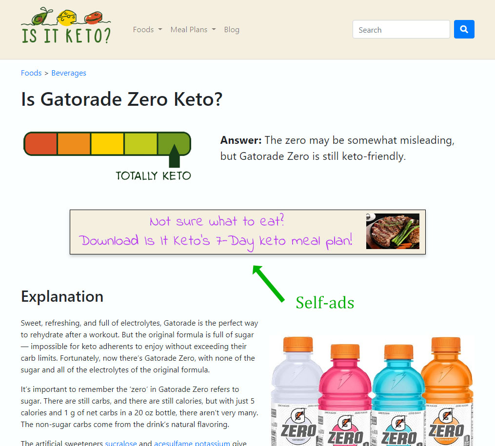 Screenshot of self-ad on Gatorade Zero page