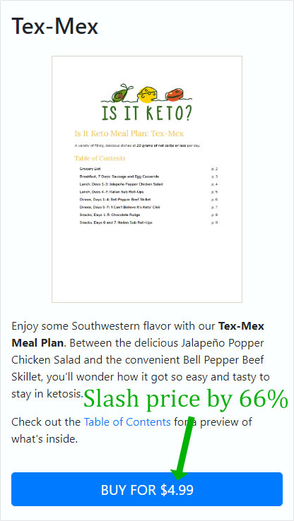 Screenshot of first Tex-Mex sales page