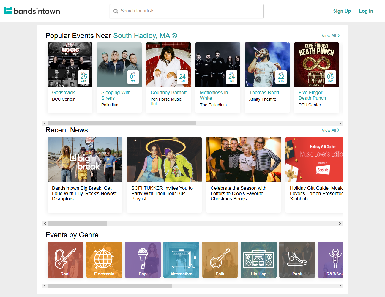 Screenshot of Bandsintown website