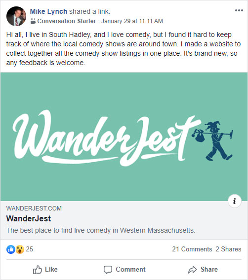 Screenshot of WanderJest share on Facebook