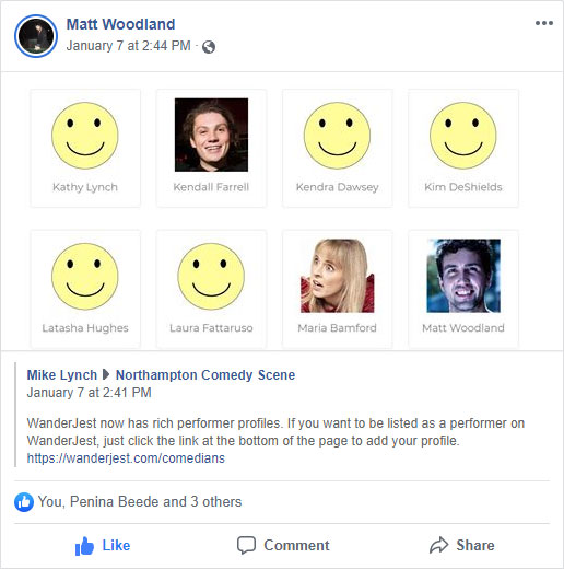 Screenshot of Matt Woodland sharing WanderJest on Facebook