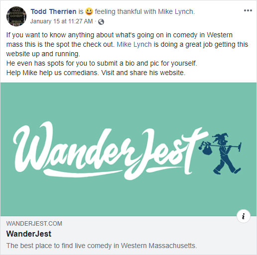 Screenshot of Todd Therrien sharing WanderJest on Facebook