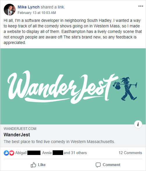 Screenshot of initial WanderJest announcement on Facebook