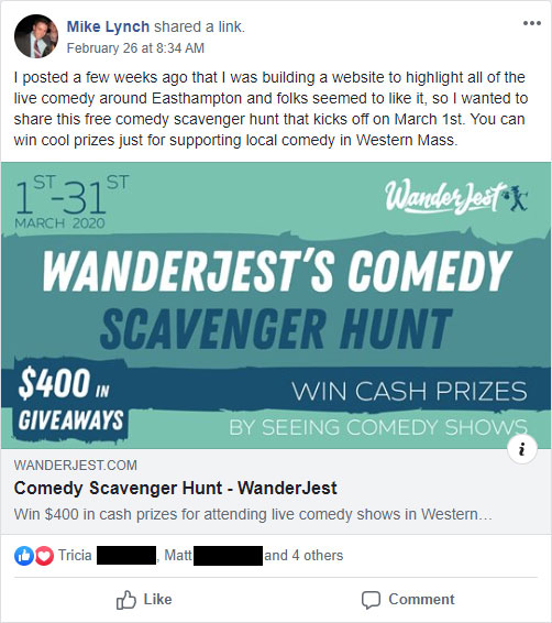 Screenshot of scavenger hunt announcement on Facebook