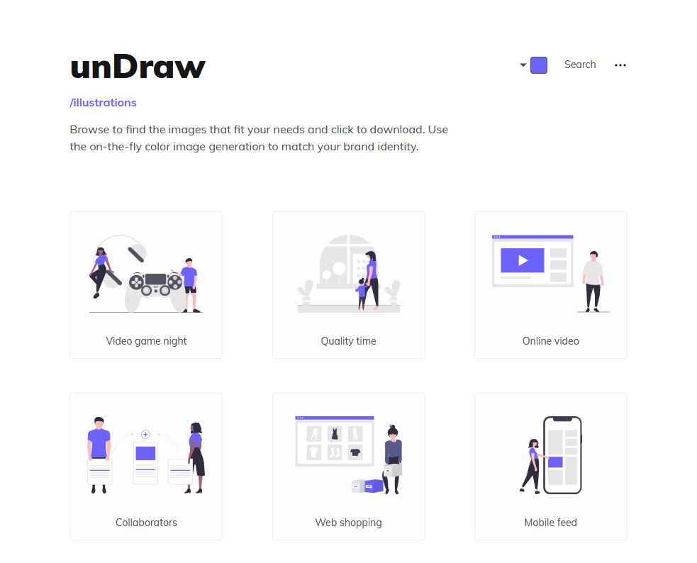 Screenshot of unDraw website
