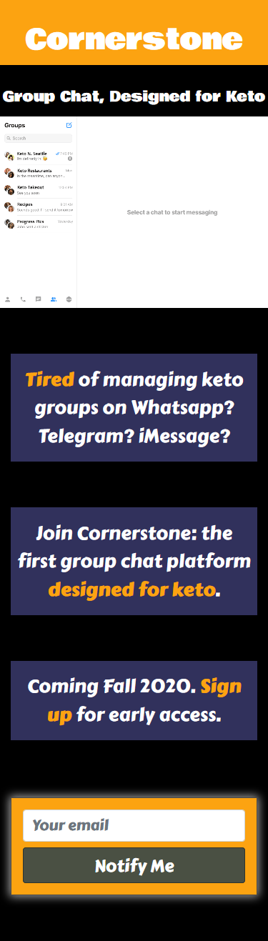 Screenshot of Cornerstone group chat landing page