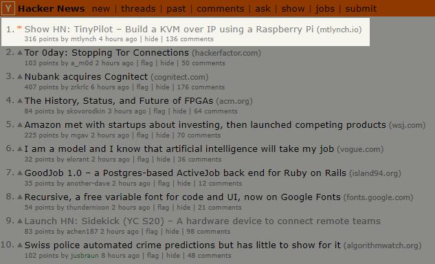 Screenshot of TinyPilot blog post at #1 slot