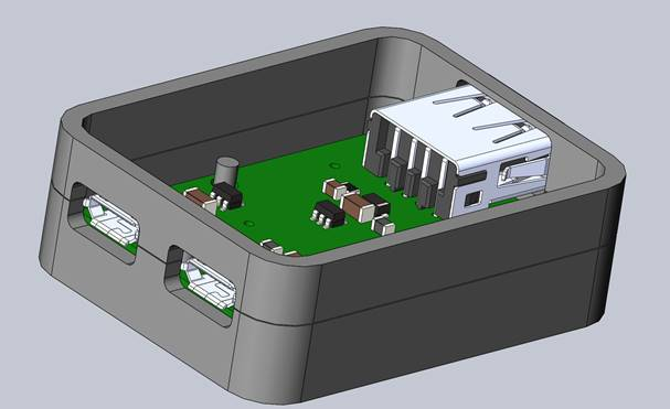 CAD image of a partially completed case design