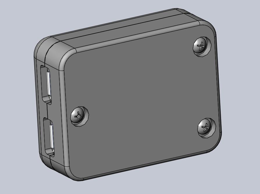 3D rendering of case, bottom view