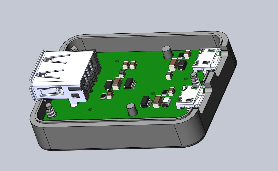 3D rendering of case, top view, open