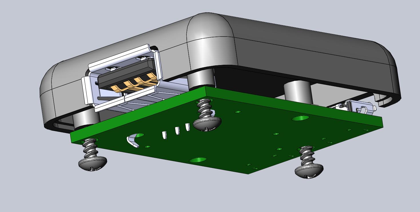 3D rendering of case, bottom view, open