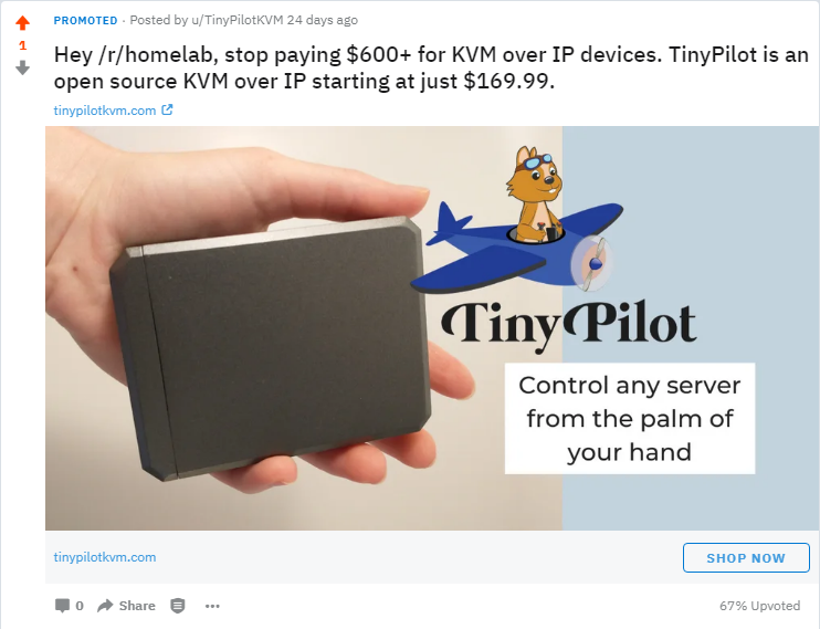 Hey /r/homelab, stop paying $600+ for KVM over IP devices. TinyPilot is an open source KVM over IP starting at just $169.99.