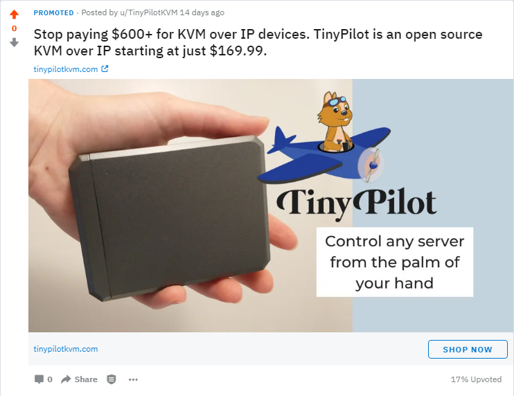 Stop paying $600+ for KVM over IP devices. TinyPilot is an open source KVM over IP starting at just $169.99.