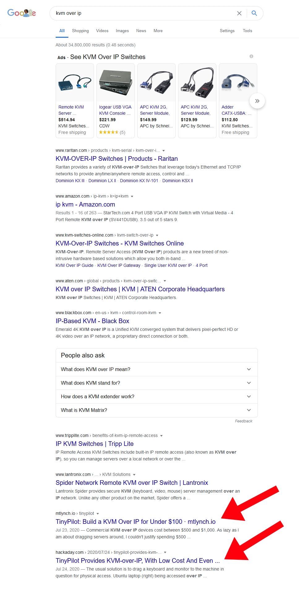 Screenshot of Google search results showing TinyPilot at the bottom of the first page of results